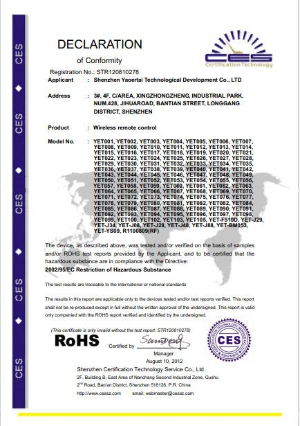 777官网登lu官获得欧盟RoHS认证
